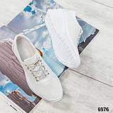 Стильные белые кроссовки женские кожаные, фото 5