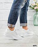 Стильные белые кроссовки женские кожаные, фото 6