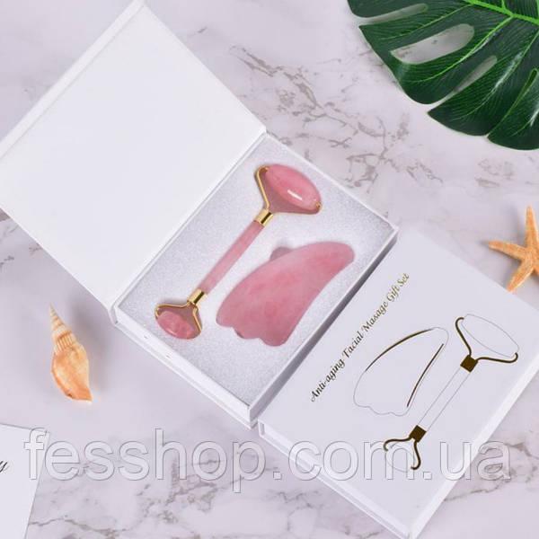 Набор роллер и скребок гуаша из розового кварца для массажа лица пятна на теле руках и ногах
