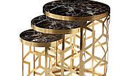 Набор столиков для десерта DUNYA MOTIFLI Zigon, Gold 3 шт., Mobilgen, Турция