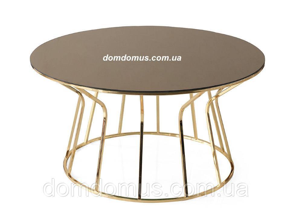 Столик кофейный, журнальный VEGAS gold (D70*40),й , корпус - металл, столешница - стекло Mobilgen, Турция