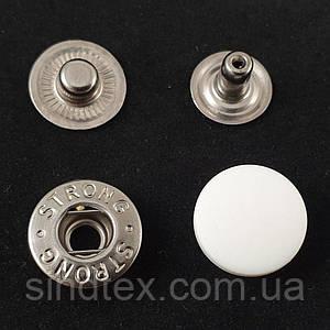 Кнопка АЛЬФА с белой пластиковой шляпкой 15мм (СТРОНГ-0317)