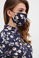 Маска синяя с цветочным принтом маска №1