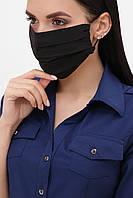 Маска черная текстильная на резинке №1