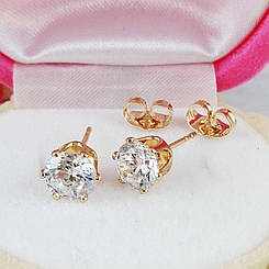 Серьги гвоздики Xuping Jewelry 7х7 медицинское золото позолота 18К А/В 5136
