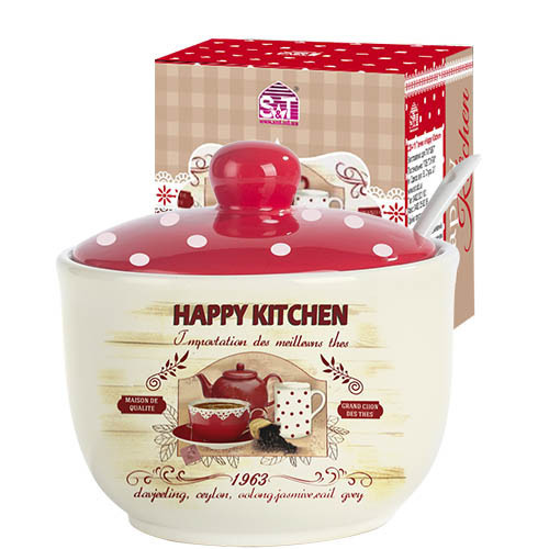 Сахарница  с ложкой S&T  Heppy Kitchen 450мл 2242-11