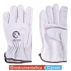 Перчатка кожаная 26,5 см манжет обрезиненый SP-0155 Intertool
