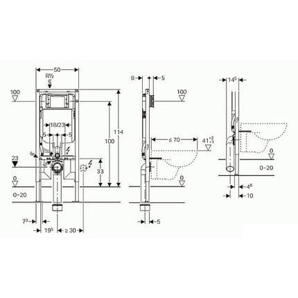 Инсталяция для подвесного унитаза GEBERIT DUOFIX H112 с встроеным бачком SIGMA-8, фото 2