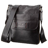 Мужская кожаная сумка месенджер SHVIGEL 19113 Черная, Черный