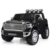 Детский двухместный электромобиль Toyota Tundra с кожаным сиденьем JJ2266AEBLR-2 черный