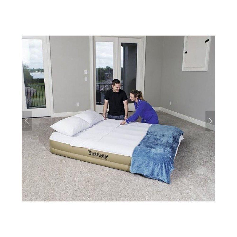 Надувне ліжко Bestway 69003 Refined Fortech, 203х152х33см, вбудований електронасос