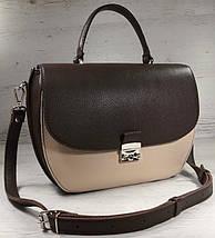 582-1 Натуральная кожа Сумка женская коричневая бежевая Кожаная сумка бежевая кожаная сумка кожаная шоколад, фото 2