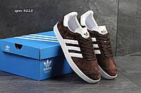 Мужские кроссовки Adidas Gazelle,замшевые коричневые с белым 45р