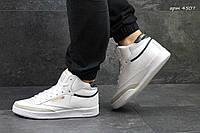 Мужские высокие кроссовки Reebok кожаные,белые 45р