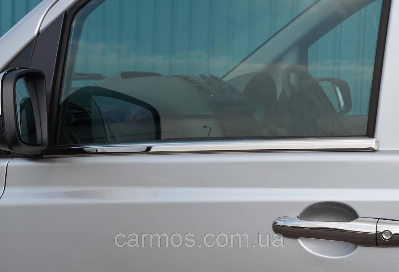 Хром молдинг стекла (оконтовка окна) Mercedes Vito 639 (мерседес вито 639), нерж.
