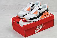 Модные кроссовки Nike Air Max,белые с оранжевым