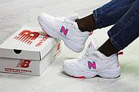 Зимние женские кроссовки New Balance 608,белые с розовым
