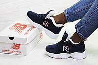 Зимние подростковые кроссовки New Balance 608,замшевые,темно синие