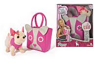 Детская Плюшевая Игрушка для Девочек Cобачка Чи Чи Лав Чихуахуа Паппи в платье и с сумкой Chi Chi Love Simbo