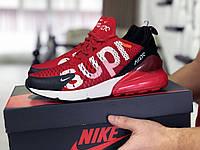 Модные кроссовки Nike air max 270 x Supreme,красные с белым