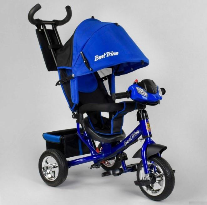 Детский трехколесный велосипед с ручкой козырьком фарой колеса пена Best Trike 6588-25-988