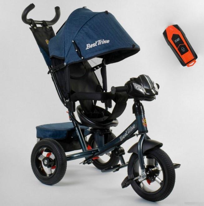 Трехколесный велосипед с ручкой козырьком фарой поворотное сиденье надувные колеса Best Trike 7700В/74-505
