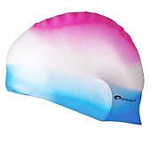 Шапочка для плавания Spokey Abstract (85370), розовая с белым и голубым