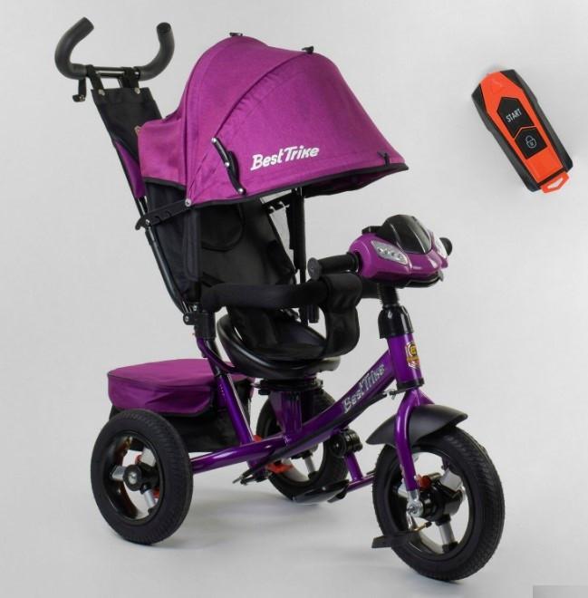 Трехколесный велосипед с ручкой козырьком фарой поворотное сиденье надувные колеса Best Trike 7700В/75-785