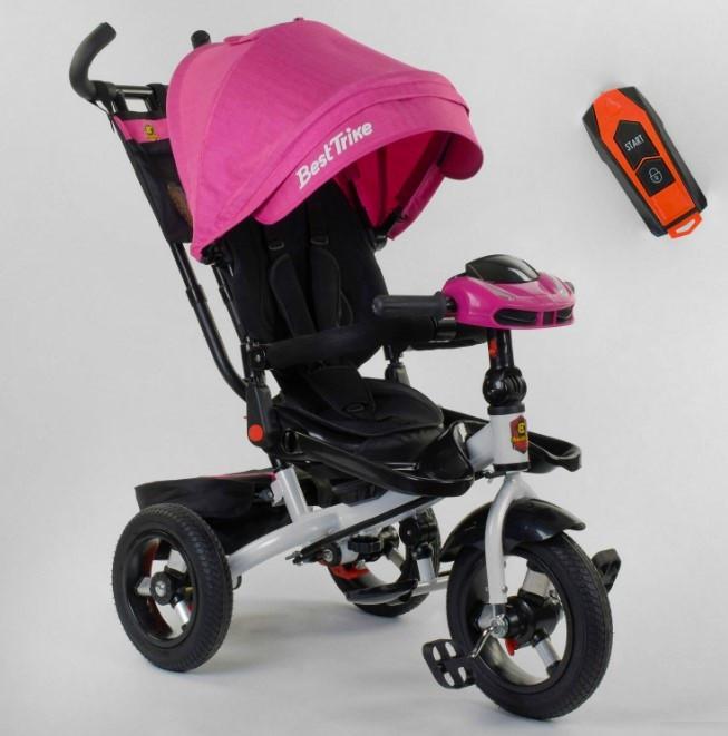 Трехколесный велосипед с ручкой козырьком фарой поворотное сиденье надувные колеса Best Trike 6088F-06-755