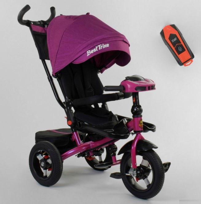 Велосипед трехколесный детский с родительской ручкой капюшоном надувные колеса Best Trike 6088F-08-202