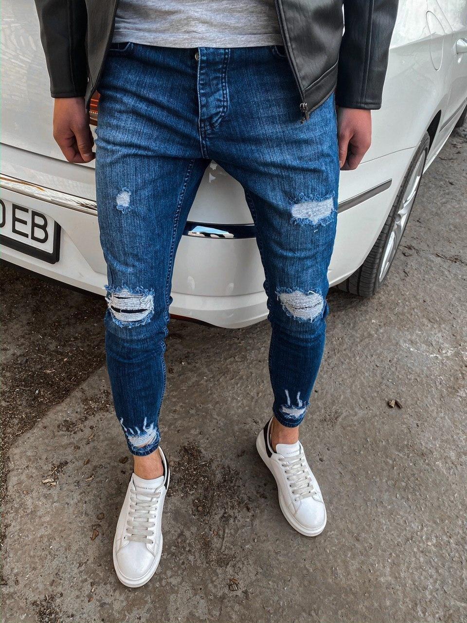 Мужские джинсы зауженные синие с заплатками 32. 33. 34