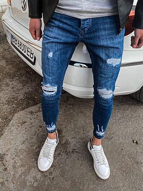 Мужские джинсы зауженные синие с заплатками 32. 33. 34, фото 2