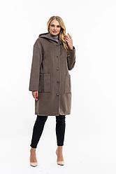 Стильне,жіноче,демісезонне пальто великого розміру, капюшон вшитий, р-ри з 48 по 60,сірий (111)