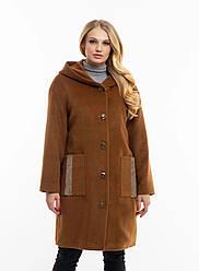 Стильне,жіноче,демісезонне пальто великого розміру, капюшон вшитий, р-ри з 50 по 62,бронза (111)