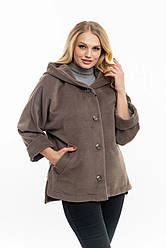 Жіноча,демісезонна,коротка куртка великого розміру, капюшон вшитий, р-ри з 50 по 60,сірий