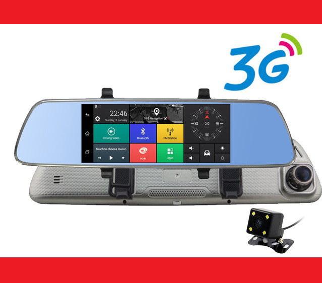 "A6 Зеркало регистратор, 7"" сенсор, 2 камеры, GPS навигатор, WiFi, 8Gb, Android, 3G | LM321243"