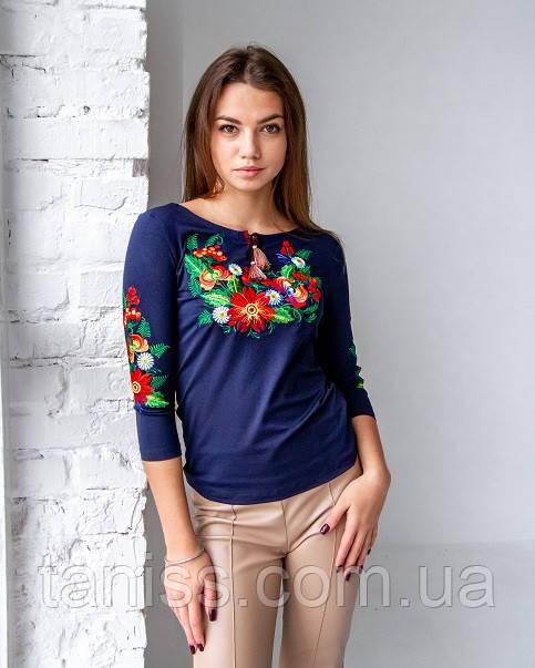 Жіноча,ошатна, блузка -вишиванка Петриківка , рукав 3\4, р. 42,44,46,48,50 синя (червона вышив)