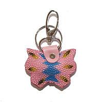 Брелок из кожи ската STK 8 Butterfly Pink