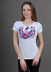 Женская футболка - вышиванка Петриковка , вышивка гладь,  р. 42,44,46,48,50,52,54,56-58 фиолет