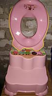 Подставка для ног 2 ступени, накладка на унитаз, кружок, комплект детский,Турция, комплект для ванны розовый, фото 1