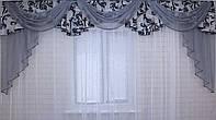 Ламбрекен из плотной ткани №68 Цвет черный с серым  Код: 068л140