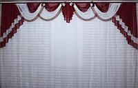 Ламбрекен на карниз 4м. №28 Бордовый с белым