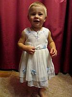 Бело-голубое платье на 1 - 1,5 года на прокат