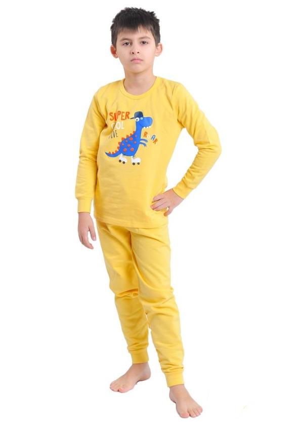 Пижама детская телпая желтая с начесом Dino трикотаж 100% хлопок Украина