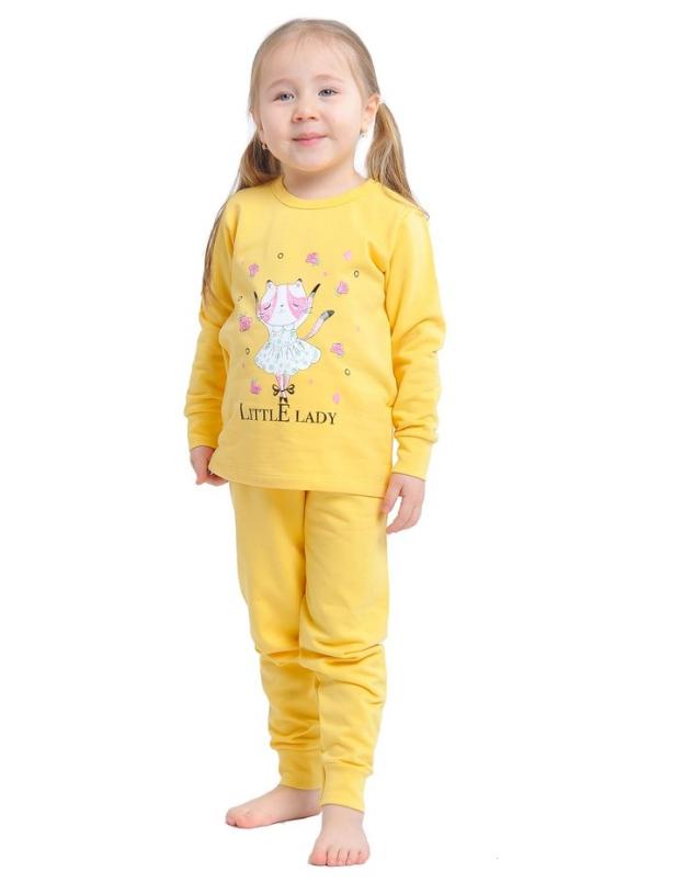 Пижама детская желтая телпая с начесом Kitty трикотаж 100% хлопок Украина