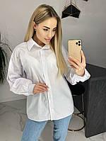 Рубашка женская, коттон, классическая, офисная, свободная, модная, стильная, длинный рукав, повседневная, фото 1