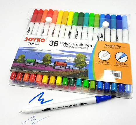 Фломастеры Joyko, двухсторонние, кисточка-лайнер, 36 цветов, 39-CLP, фото 2