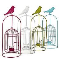 Декор для сада Подсвечник-клетка для птиц в ассорт.