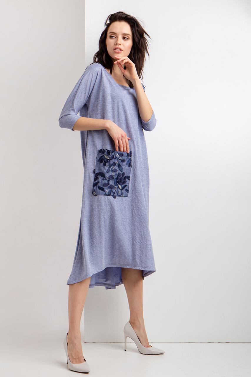 Голубое трикотажное платье ELE с асимметрией и большим карманом l