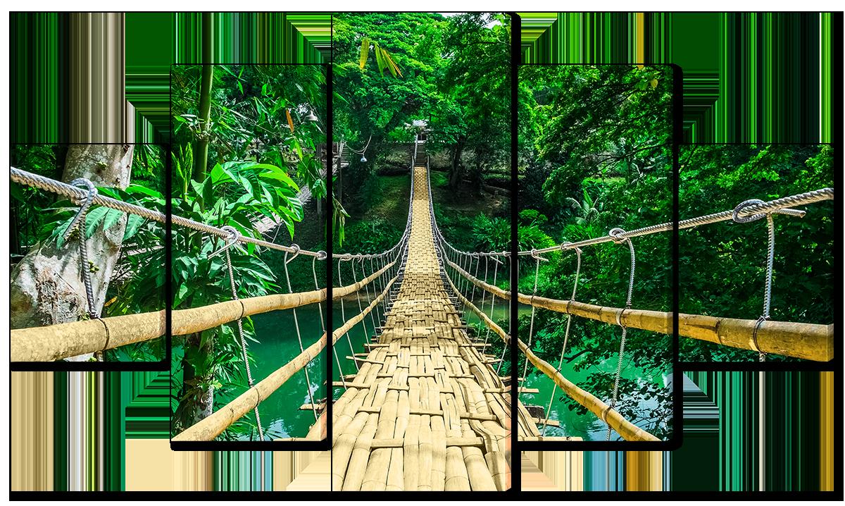Модульная картина Бамбуковый мост в трописком лесу